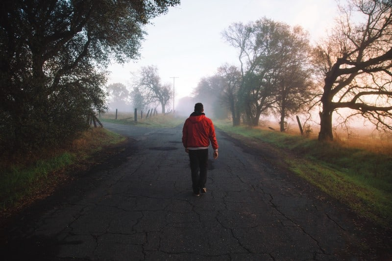 Leadpages - Boy Walking Down Misty Country Road Original