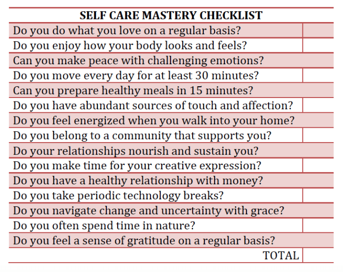 Self Care Mastery Checklist BIG